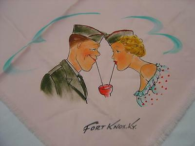 Vintage Wwii Fort Knox Army Home Front Pink G.i. & Sweetheart Share A Soda Scarf