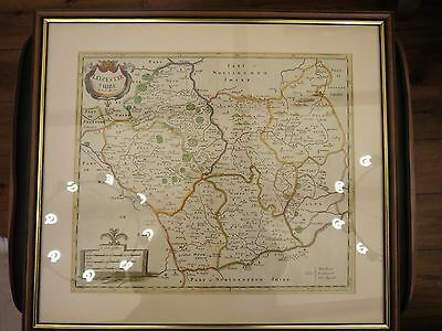 LEICESTERSHIRE, LEICESTER  ROBERT MORDEN  GENUINE ANTIQUE MAP HAND COLOUR c1722