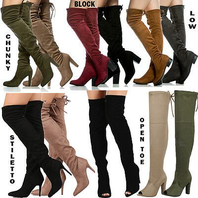 5 HEEL STYLES Thigh High Drawstring Suede Chunky Stiletto Low High Open Toe Boot