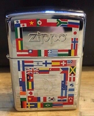 Zippo Olympic Torch World Flags Cigarette Lighter Never Used BEAUTIFUL!