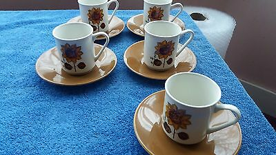 5 x Lord Nelson Pottery Retro Sunflower Pattern Cups & Saucers - VGC