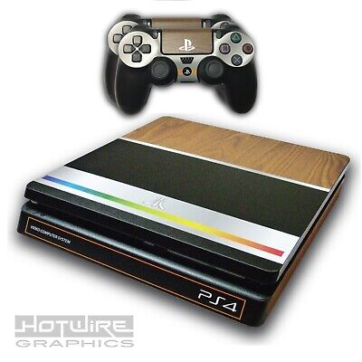 PS4 SLIM Skin Sticker Kit - RETRO ATARI GAMER Style - Wood & Aluminium Effect