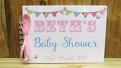 Personalised Baby Shower Guest Book Photo Album Memory Book Bunting Butterfly a5