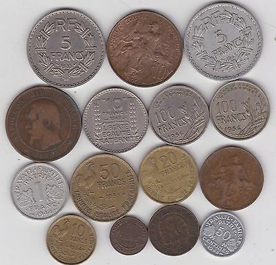 15 Different French Coins Dated 1855W To 1956 In Fine Or Better Condition
