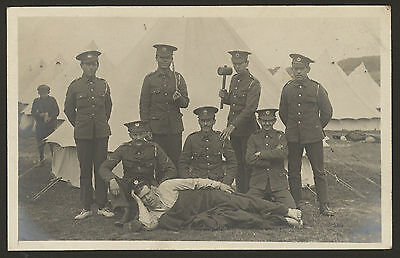Royal Engineers Group Photograph in Camp Near Rochester. 1912 Photo Postcard