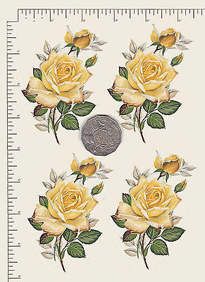 "4 x Waterslide ceramic decals Flowers Yellow rose Approx 3 1/2"" X 2 1/2""  PD802"