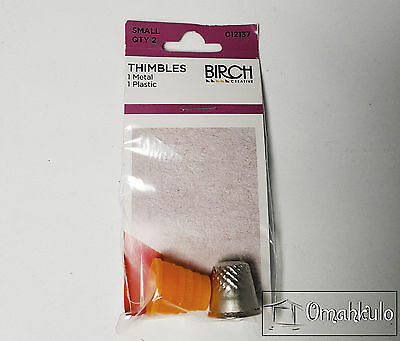 BIRCH Thimbles Set Small - 2 Pack - One Plastic, One Metal - 18mm