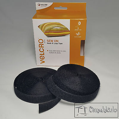 VELCRO 20mm X 5m SEW ON Hook and Loop Tape - Black - Cut to Length
