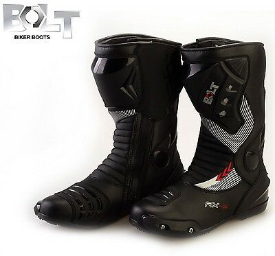 Bolt S12 Motorbike Motorcycle Leather Armour Sport Boots Black