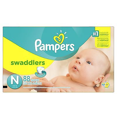 Pampers Swaddlers Diapers Size-N Super Pack 88-Count- Packaging May Vary