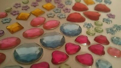 129 SELF ADHESIVE ACRYLIC GEMS/JEWELS/STONES-MIXED COLOUR/SHAPES-STICKERS uk