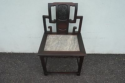 """Antique Chinese Rosewood Chair W/marble Inset 37""""h X 22""""w X 17""""d"""