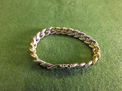 Heavy Sterling Silver Gold/Silver link Bracelet - 7.5 inches - 50.8g