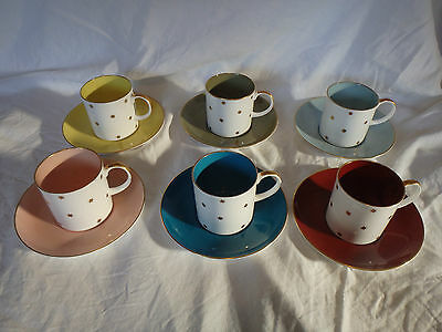 Vintage Retro Set of 6 Susie Cooper Star Cups/Cans & Saucers Glamping Wedding