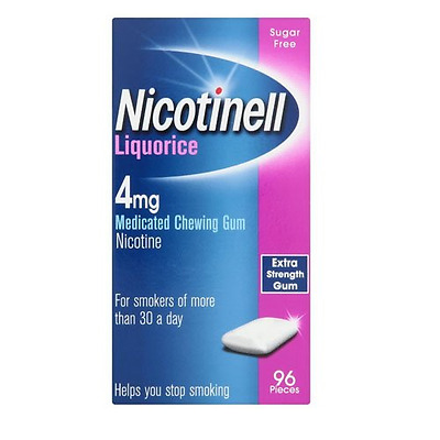 Nicotinell Liquorice 4 mg Nicotine Medicated Chewing Gum, 96 Pieces