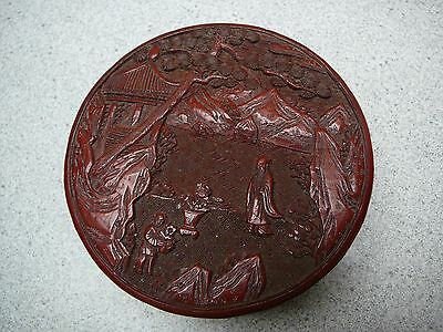 Very fine and beautifully carved Chinese cinnabar lacquer covered box 19thC