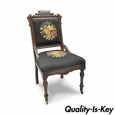 Antique Eastlake Victorian Carved Walnut Floral Needlepoint Parlor Side Chair