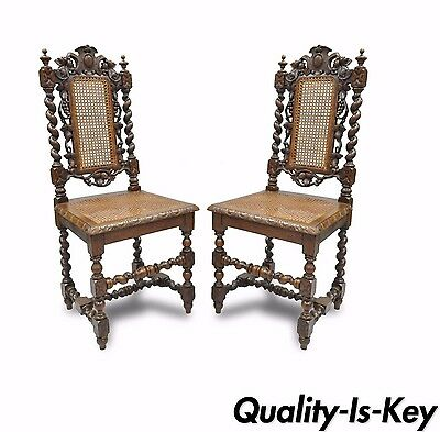 Genial Antique Pair Of Renaissance Revival Carved Oak Barley Twist U0026 Cane Side  Chairs A