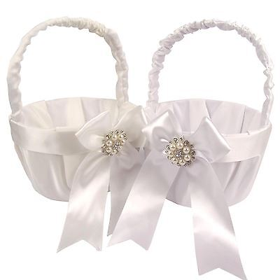 Premium Wedding Basket with Brooch! Premium Satin Silk Flower Girl Tall
