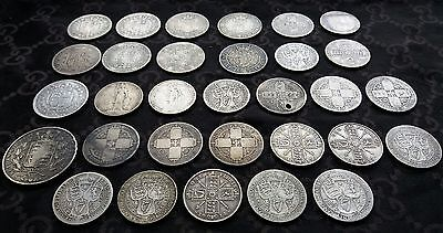 5 Queen Victoria Solid Silver Gothic Florins Two Shillings Coins