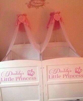 Pink and white cot canopy with stand