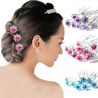 Crystal Diamante Rose Flower Jewellery Hair Pin Accessory