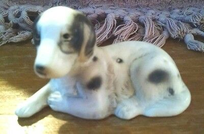 VINTAGE Art Line Black & White English Setter Dog Porcelain Figurine (Japan)