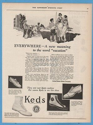 1923 Keds Canvas tennis basketball Athletic School Shoes United States Rubber ad