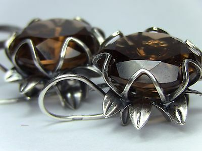 Soviet USSR Vintage EARRINGS +RING  Silver plated Awesome Antique CITRINE STONE