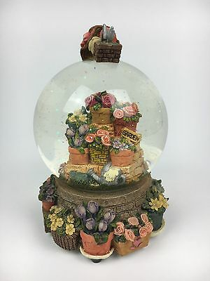 Garden Floral Themed Snow Globe Musical Water Globe Ornament
