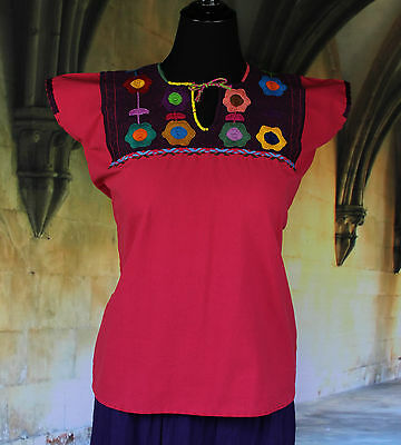 Pink & Multi Color, Hand Embroidered Mayan Huipil Chiapas Mexico Hippie, Boho