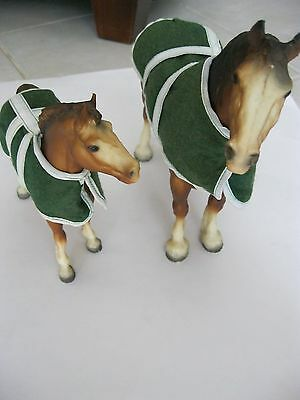 Vintage Breyer Animal Creations Clydesdale Horses Mare/Foal 70's w/ Blankets