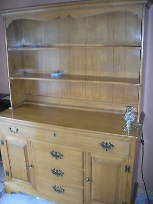 1950's Vintage Solid Maple Willett Lancaster County Hutch Dining Cabinet