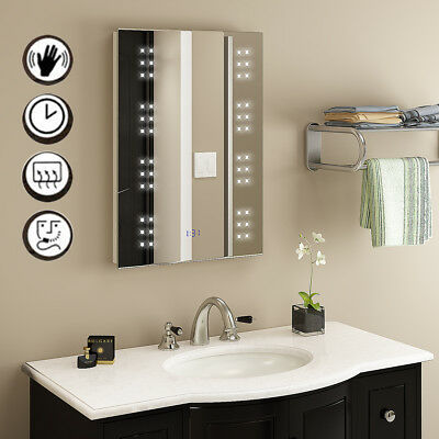 LED Illuminated Bathroom Mirror Sensor Demister with Shaver Socket Clock 70x50cm