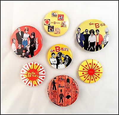 The B-52's Lot Of 7 80's Buttons Pins Punk Rock Prism Button