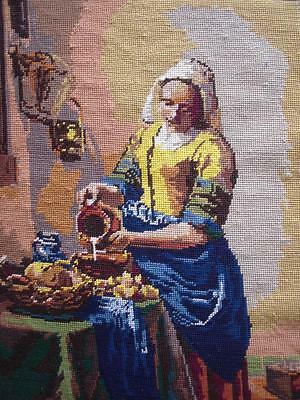 """VINTAGE VERMEER COMPLETED COTTON NEEDLEPOINT DAIRY MAID 18.5""""x14.2"""""""