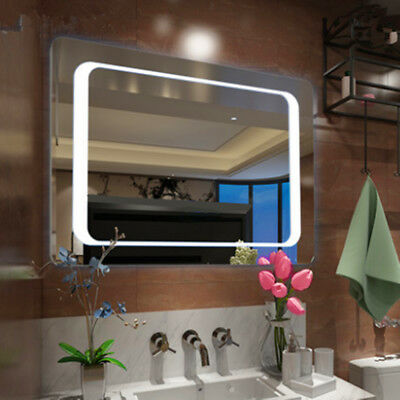 LED illuminated bathroom frameless wall mirror sensor demister IP44 800 x 600 mm