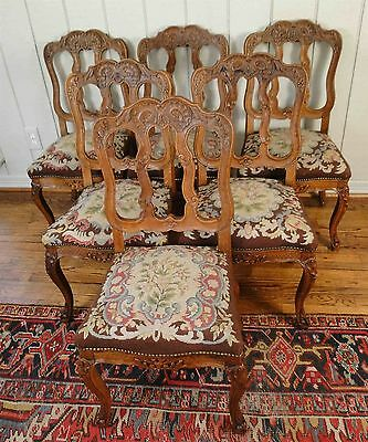6 Antique French Country Carved Dining Chairs Needlepoint Chairs Cabriole Legs