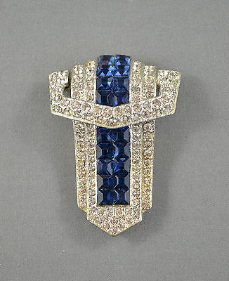 Stunning Art Deco Blue & Clear Crystals Rhinestones Large Dress / Fur Clip