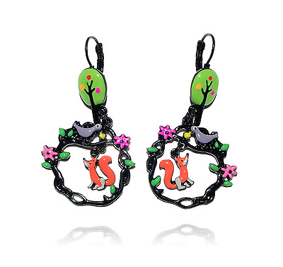 Earrings le raven et le fox tree green lol bijoux 2017 Paris