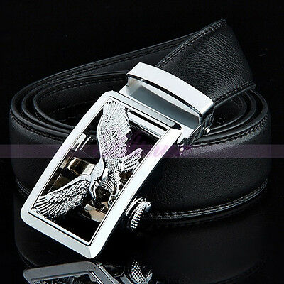 Mens Luxury Genuine Leather Alloy Silver Automatic Buckle Dress Waist Strap Belt