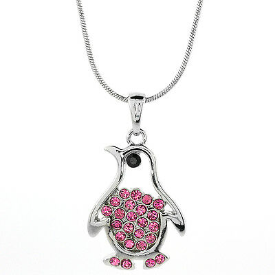 "White Color Penguin Shape Charm Pendant with Pink Crystals and 16"" Chain"