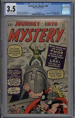 Journey Into Mystery # 85 CGC 3.5 VG- OW/W 1st Appearance of Loki 3rd Thor 1962