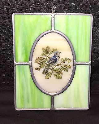 Vintage Leaded Stained Glass Sun catcher Green Milky Glass Bird Painting