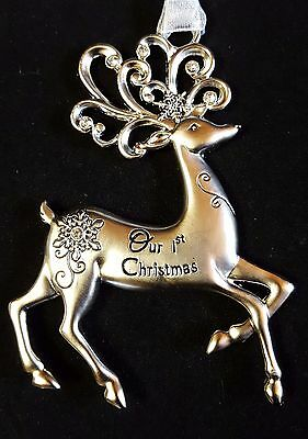 """Pewter Reindeer Ornament Our First Christmas Crystals Ribbon Hanger Ganz 3.5"""""""