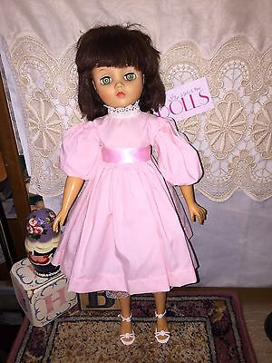 """Vintage 19"""" marked Uneeda fashion doll in pink dress and heels"""