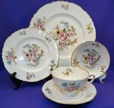 5 Pc Place Setting Syracuse China Portland Pattern Federal Shape Pink Roses