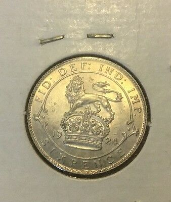 1924 George V silver Sixpence. Uncirculated Coin.