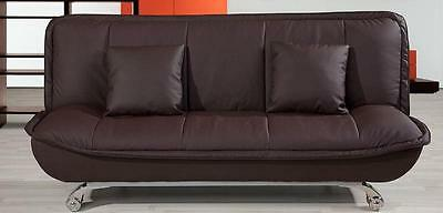 Premiere 3 Seater Sofa bed in bonded leather Brown - Free Cushions ----