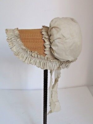 Antique Large Doll or Baby Straw and Cotton Bonnet Victorian Era